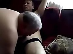 Chubby Daddy Sucking my cock while I spank his Fat Ass