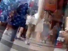 teen upskirt in street with red frilly skirt