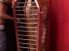 Black top whipping torment twink in cage and masala volume bondage