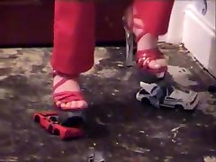 Metal toy cars smashed with bdsm hd sissy cum dump heels