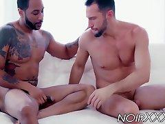 Muscular black hunk Jaxx Maxim anally fucks bearded Colby Tucker