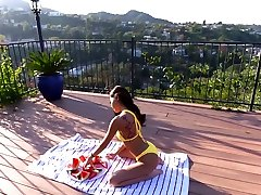 Asian Babe in sax pakesten Sucking on Watermelon and Cock