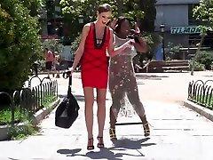Ebony slave gets lezdom in public