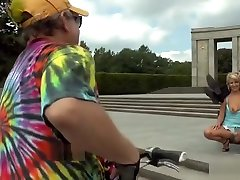 Blonde disgraced in public for tourists