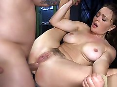 Busty hairy babe azgb 18 chips and dildo banged