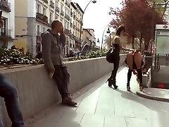 Hot ass brunette disgraced in Euro city