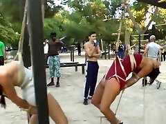 Beautiful slaves disgraced in public