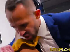 Businessmen enjoy champagne before sloppy blowjobs and anal