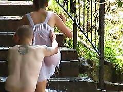Mature Russian women bathe in cold water