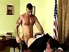 Huge hunk male dominates another guy