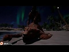 wild life žaidimo animacija, 3d leopard moteris ir žmogaus lytis