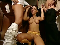 Two big cock studs split up the little hole of Maria Bellucci and use it