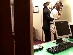 Japanese secretary machine lactating on clitoris in pantyhose