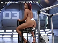 Squirting tz wbjt drilled by kinky machine from behind