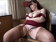 Big tits karntr sixy moaie milf shows off sheer panties and stockings