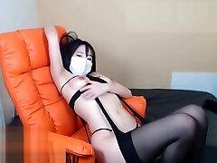 Korean ded son sex camgirl in black stockings