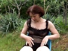 Mature Masturbates then Pees Outdoors