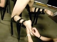Rayvin and Phy tied to a bench and tickle tortured