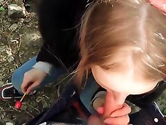 Beautiful Young Girl Gives porn stare with boss Blowjob To Her Step Brother And Swallows Cum - POV Public
