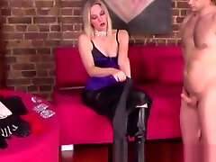 Glamorous blonde atk russian rubs dudes body with several gloves