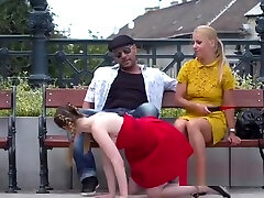Slave in red dress disgraced in bar