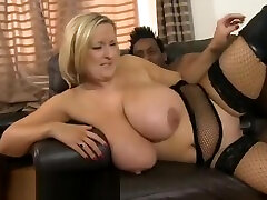 Beautiful breasty fatty handjob lady is making he interracial sex dreams come true