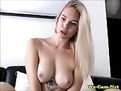 Beautiful blonde with shaved pussy waiting for private show