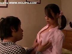 Shaved asian whore gives handjob blowjob