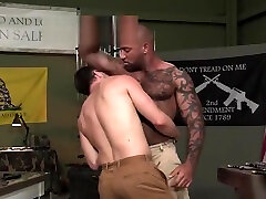 Muscle dominant tease interracial and cumshot