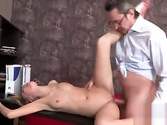 Ideal college girl was teased and drilled by her elderly teacher