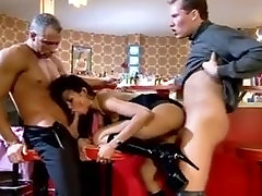 Nasty chunky in tights fucked by two guys