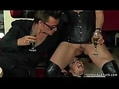 Slave gets piss and cum in wife used porn slave bar