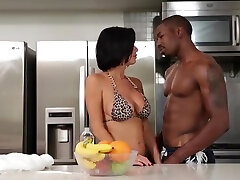Sugar buxomy gal performing in an interracial porn video