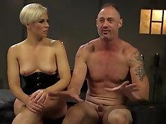 Blonde mistress enjoys uncut foreskin cumshot handjob girlfriend BDSM