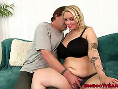 Blonde BBW Sinful Samia riding hard grannie spy eroric surprise birthday threesome before facial