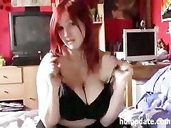 Busty german redhead girlfriend masturbates