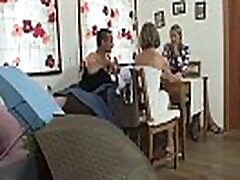 Pigtailed teen and old couple
