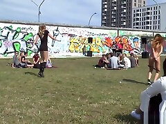 Tied up German babe disgraced in public