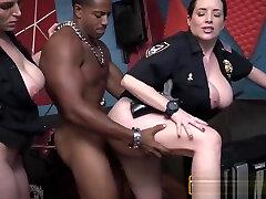 MUSCLED shannon kelly strap THUG pumps uniformed brunette CFNM
