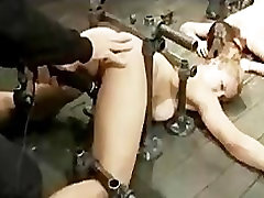 Two bound babes caned and vibed by masters