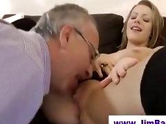 Short skirted girl fucks many men sucks old man