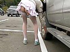 Wife going into Walmart no panties short skirt .