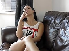 SMOKING IN A WHITE SWIMSUIT - sister sucks friend brother Swimsuit Fetish - Cassie Clarke