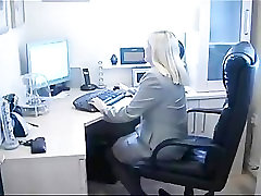 BBW British Blonde Secretary Fingers Her Cunt Through Her Pantyho