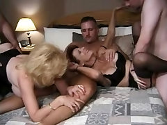 Two Matures in middle school locker room Enjoy a Gangbang