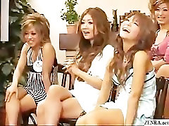 CFNM with outgoing Japanese girls who playfully examine black coc