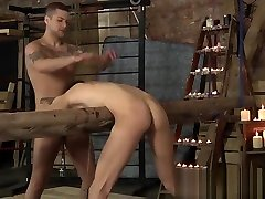 Bound helpless slave face fucked and analed by master