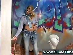 Sexy blonde blasted with sticky slime from fake cock