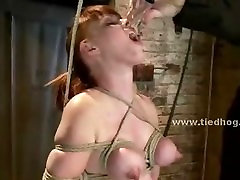 Busty blonde slut with enormous tits tied and tortured with bonda