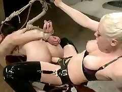 Male sex slave tied tightly is spanked and fucked in female domin